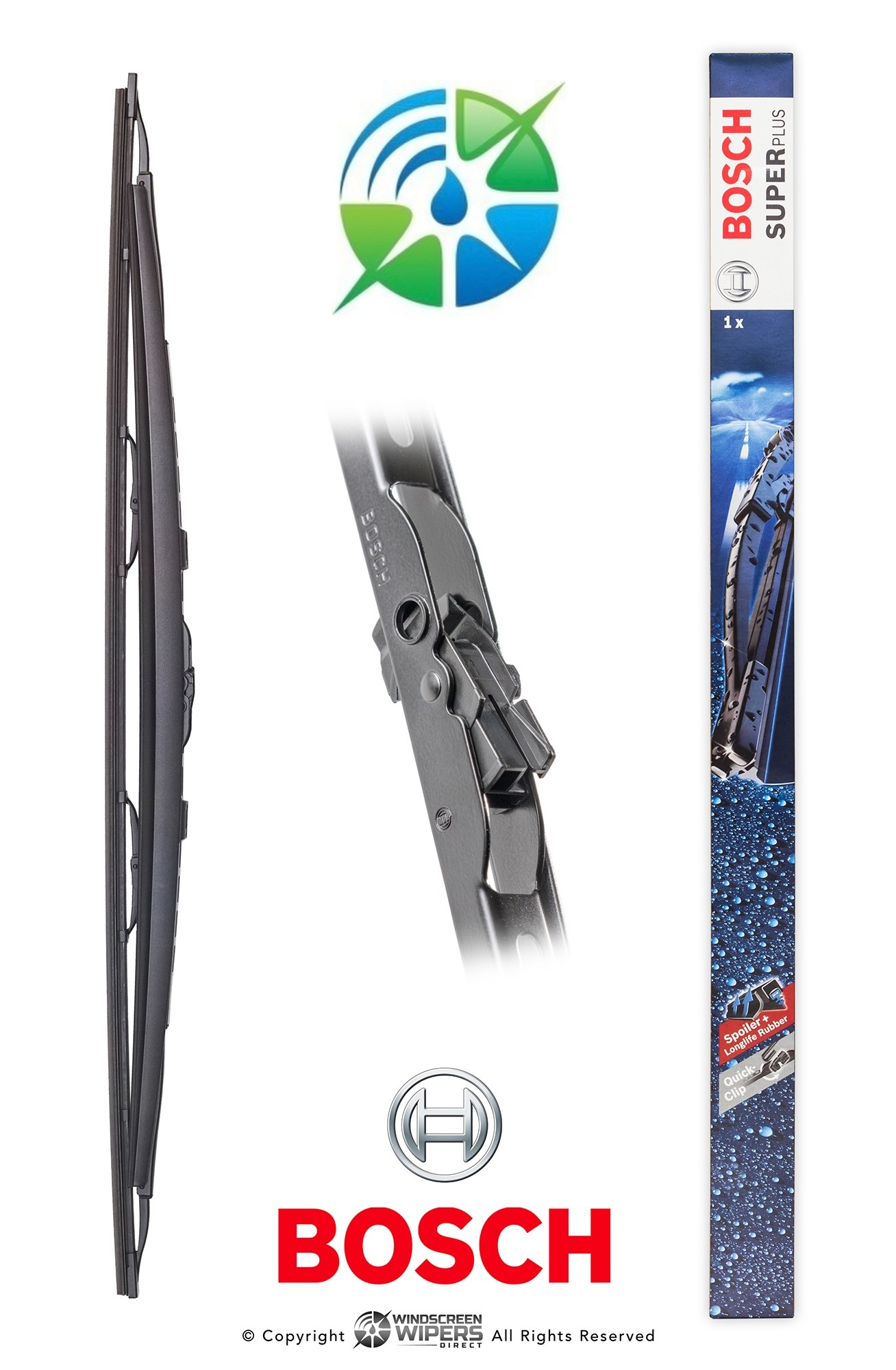 "SP24S Bosch Wiper Blade Super Plus With Spoiler  24"" 600mm"