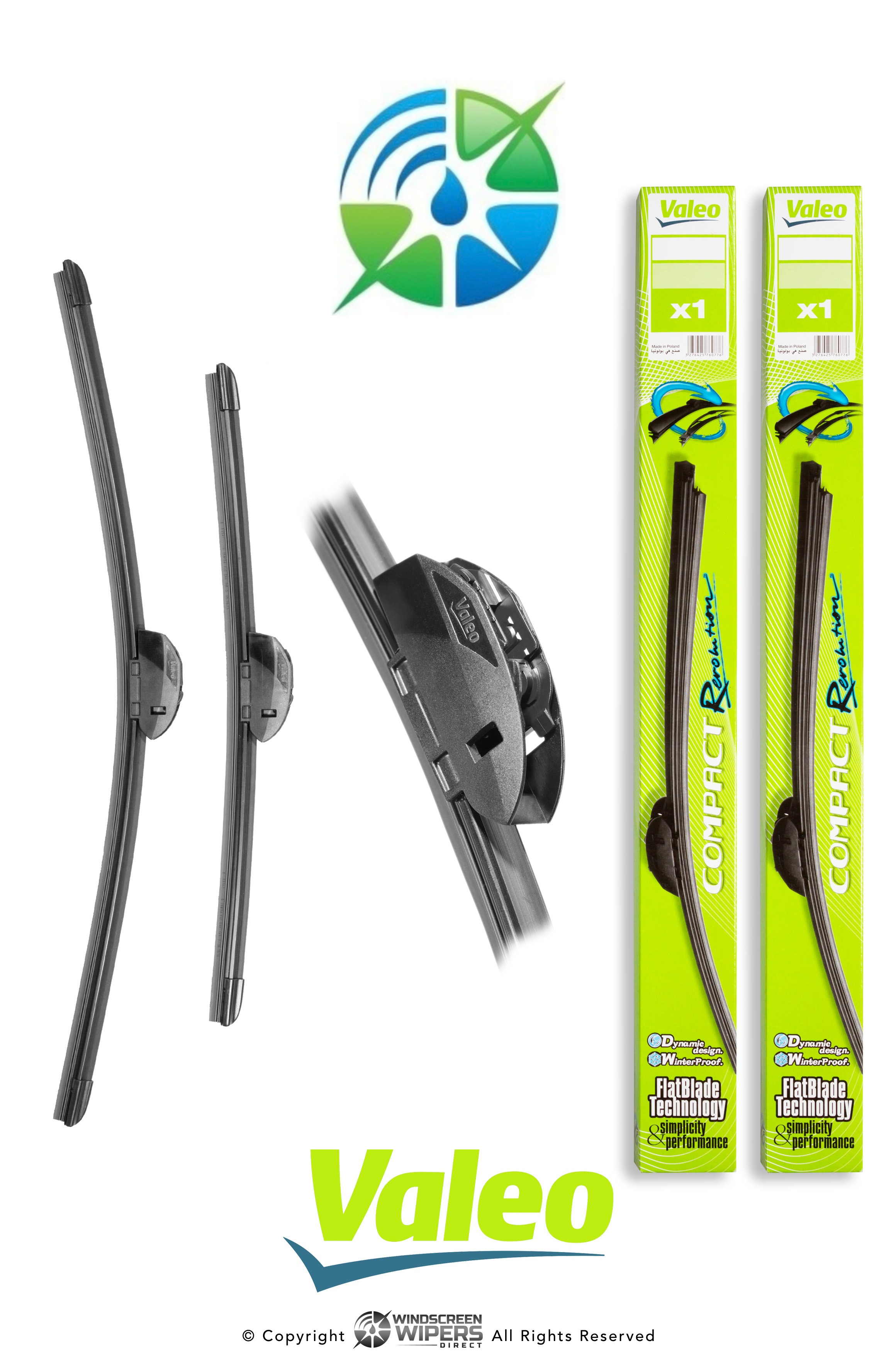 "R51/R48 Valeo Compact Revolution Retrofit Front Twin Pack 20""(500mm)/19""(475mm)"